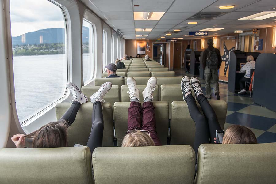 Passengers on the Queen of Oak Bay from Nanaimo to Horseshoe Bay