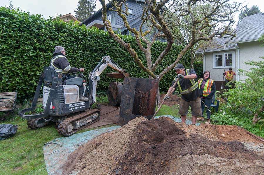 Removing underground oil tank